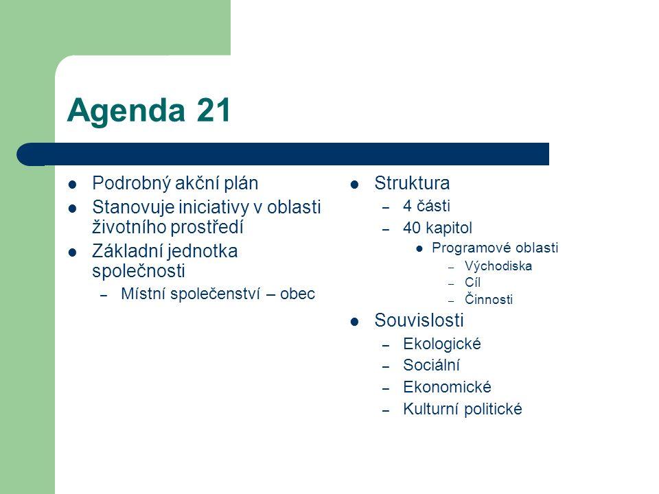 Agenda 21 Podrobný akční plán Stanovuje iniciativy v oblasti životního prostředí Základní jednotka společnosti – Místní společenství – obec Struktura