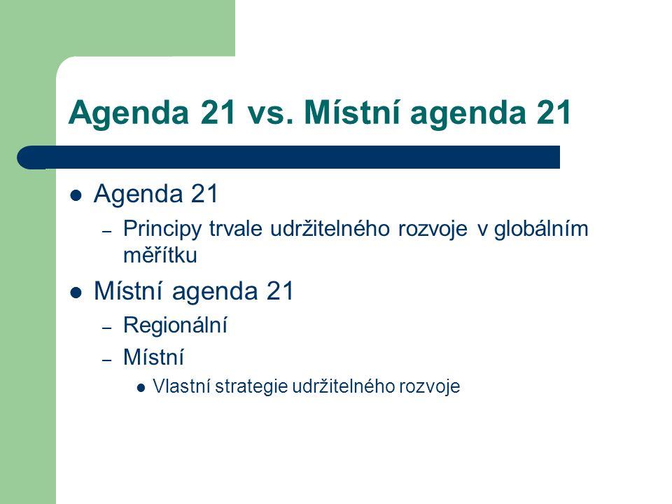 Agenda 21 vs. Místní agenda 21 Agenda 21 – Principy trvale udržitelného rozvoje v globálním měřítku Místní agenda 21 – Regionální – Místní Vlastní str