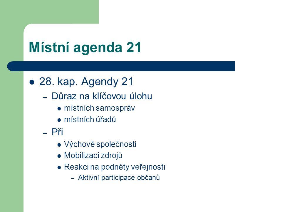 Místní agenda 21 28. kap. Agendy 21 – Důraz na klíčovou úlohu místních samospráv místních úřadů – Při Výchově společnosti Mobilizaci zdrojů Reakci na