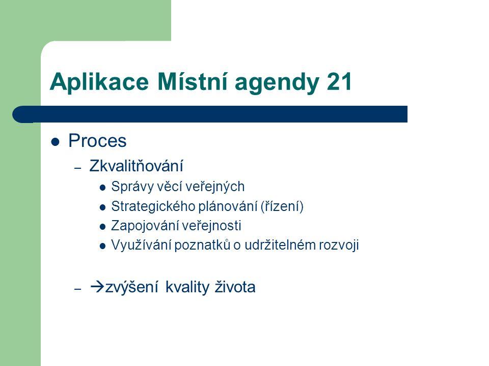 Aplikace Místní agendy 21 Proces – Zkvalitňování Správy věcí veřejných Strategického plánování (řízení) Zapojování veřejnosti Využívání poznatků o udr