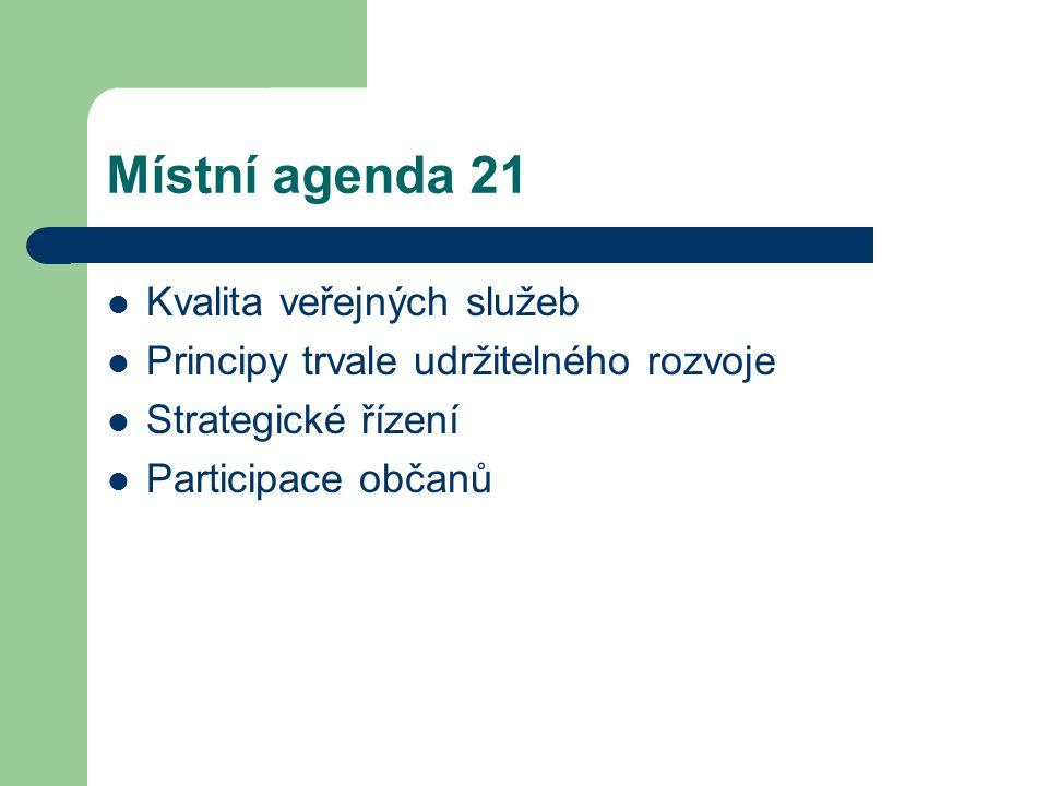 Místní agenda 21 Kvalita veřejných služeb Principy trvale udržitelného rozvoje Strategické řízení Participace občanů