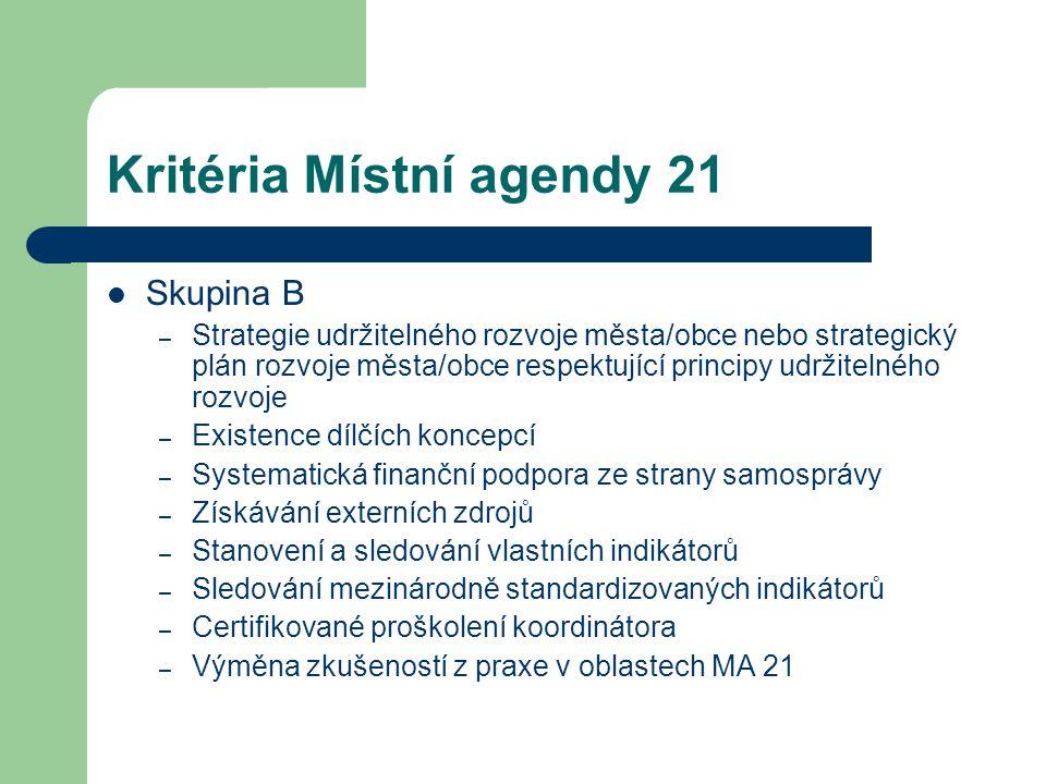 Kritéria Místní agendy 21 Skupina B – Strategie udržitelného rozvoje města/obce nebo strategický plán rozvoje města/obce respektující principy udržite