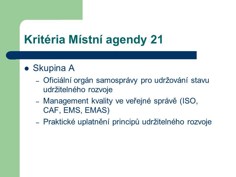 Kritéria Místní agendy 21 Skupina A – Oficiální orgán samosprávy pro udržování stavu udržitelného rozvoje – Management kvality ve veřejné správě (ISO,