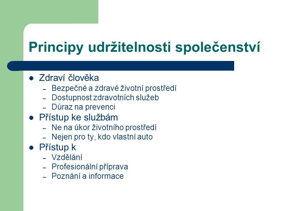 Kritéria Místní agendy 21 Projekt Rady vlády pro udržitelný rozvoj v ČR 2005 Místní společenství – 4 respektive 5 kategorií 21 kritérií
