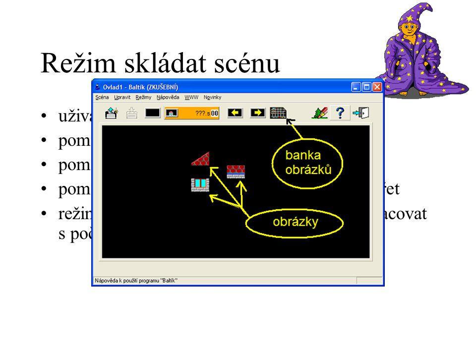 Režim skládat scénu uživatel sestavuje obrázek pomocí malých obrázků (39 * 29 pixelů) pomocí myši přesouvat nebo kopírovat pomocí režimu Malování upravovat a vytvářet režim je určen těm nejmenším – naučí se pracovat s počítačem a Baltíkem