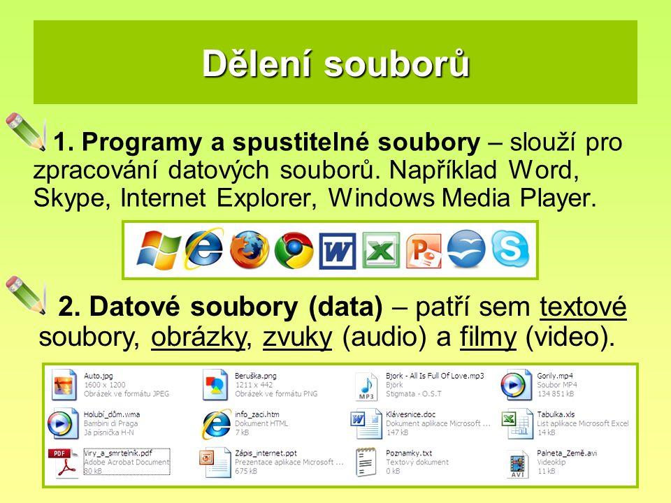Dělení souborů 1. Programy a spustitelné soubory – slouží pro zpracování datových souborů. Například Word, Skype, Internet Explorer, Windows Media Pla
