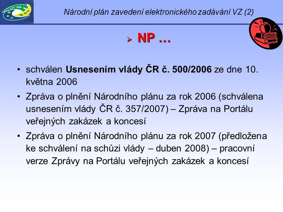 Národní plán zavedení elektronického zadávání VZ (2)  NP … schválen Usnesením vlády ČR č. 500/2006 ze dne 10. května 2006 Zpráva o plnění Národního p
