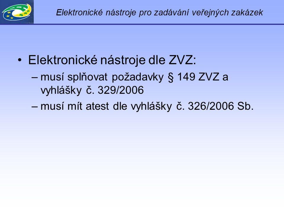 Elektronické nástroje pro zadávání veřejných zakázek Elektronické nástroje dle ZVZ: –musí splňovat požadavky § 149 ZVZ a vyhlášky č.