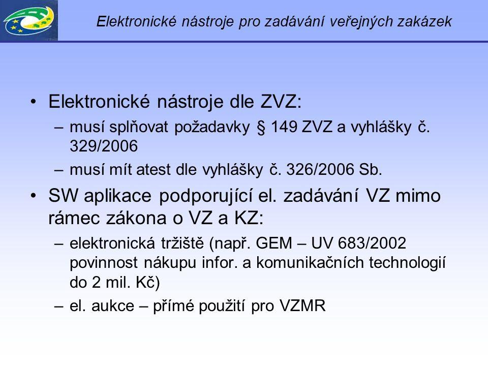 Elektronické nástroje pro zadávání veřejných zakázek Elektronické nástroje dle ZVZ: –musí splňovat požadavky § 149 ZVZ a vyhlášky č. 329/2006 –musí mí