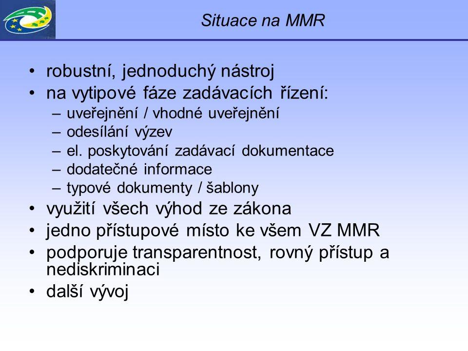 Situace na MMR robustní, jednoduchý nástroj na vytipové fáze zadávacích řízení: –uveřejnění / vhodné uveřejnění –odesílání výzev –el. poskytování zadá