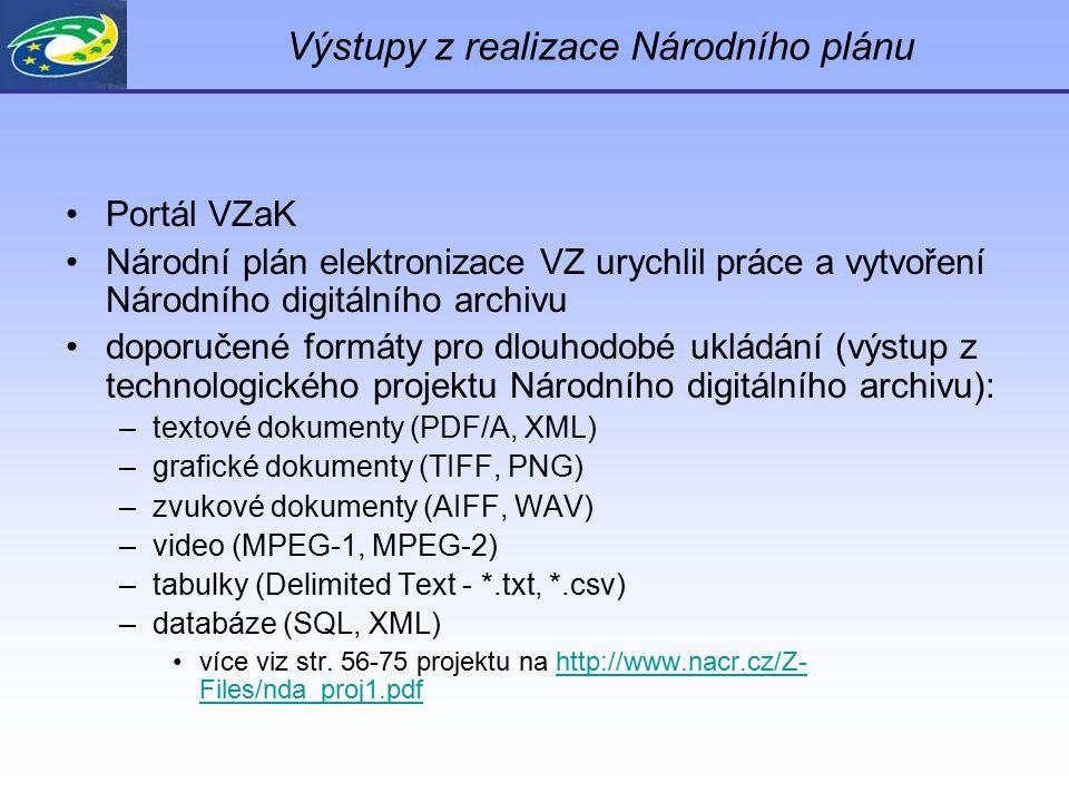 Výstupy z realizace Národního plánu Portál VZaK Národní plán elektronizace VZ urychlil práce a vytvoření Národního digitálního archivu doporučené formáty pro dlouhodobé ukládání (výstup z technologického projektu Národního digitálního archivu): –textové dokumenty (PDF/A, XML) –grafické dokumenty (TIFF, PNG) –zvukové dokumenty (AIFF, WAV) –video (MPEG-1, MPEG-2) –tabulky (Delimited Text - *.txt, *.csv) –databáze (SQL, XML) více viz str.