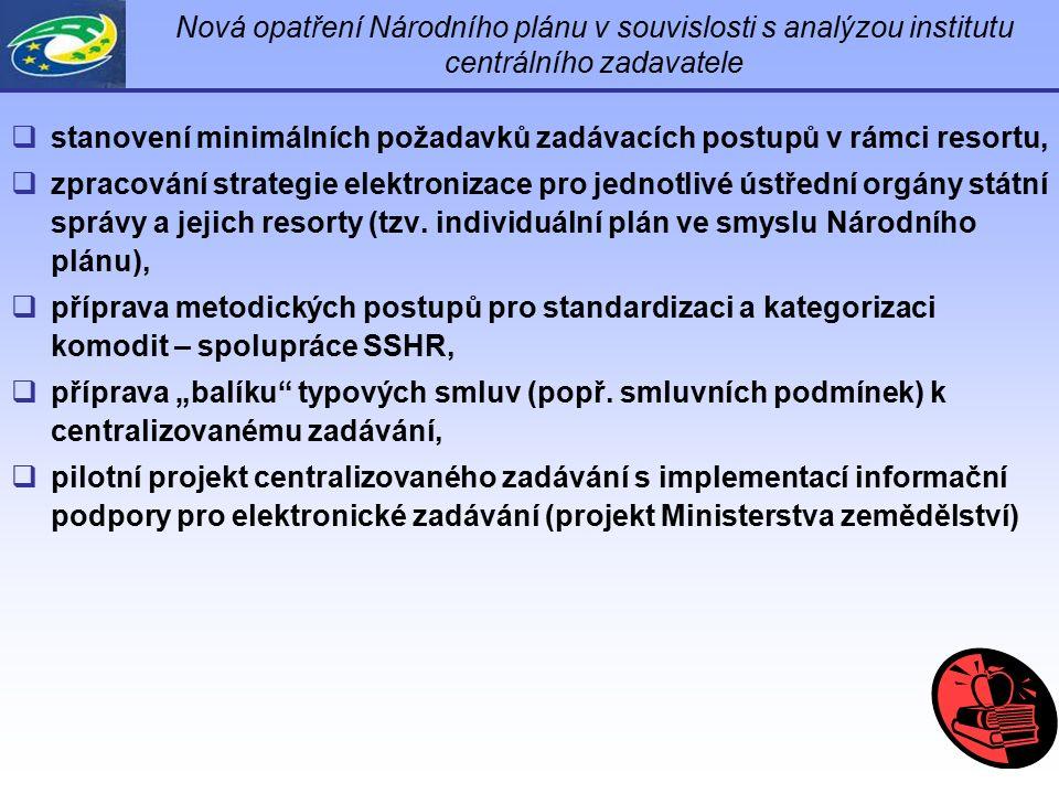 Nová opatření Národního plánu v souvislosti s analýzou institutu centrálního zadavatele  stanovení minimálních požadavků zadávacích postupů v rámci r