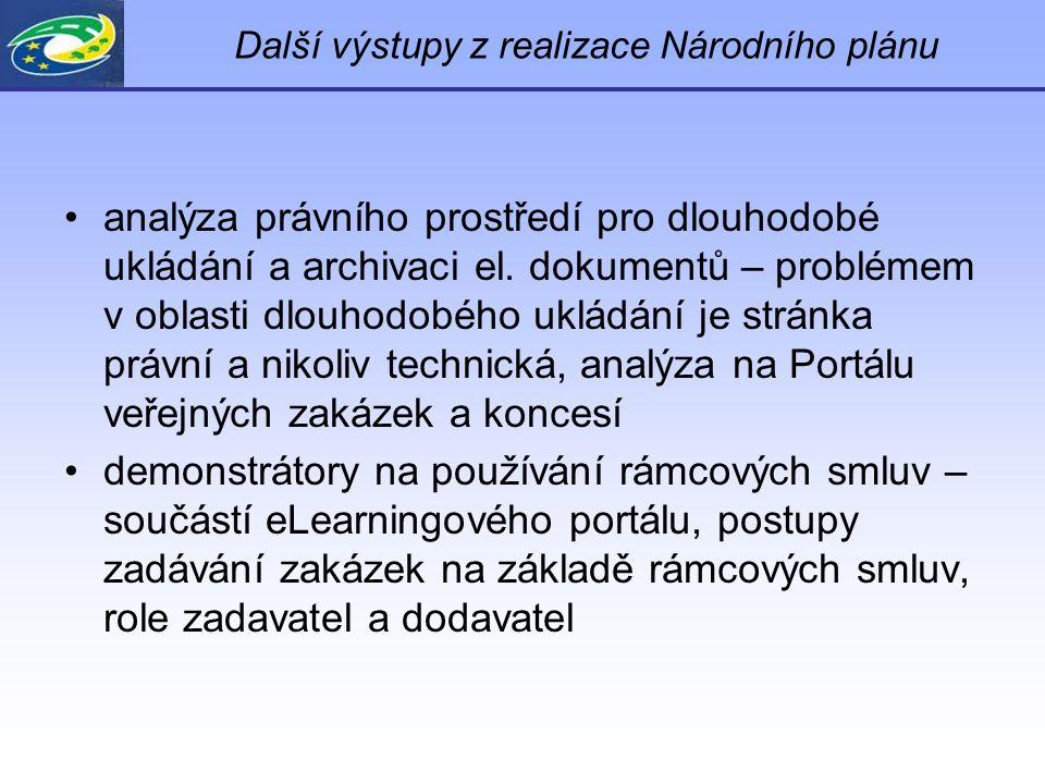 Další výstupy z realizace Národního plánu analýza právního prostředí pro dlouhodobé ukládání a archivaci el.