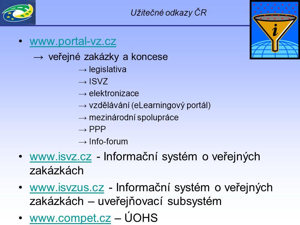 Užitečné odkazy ČR www.portal-vz.cz → veřejné zakázky a koncese → legislativa → ISVZ → elektronizace → vzdělávání (eLearningový portál) → mezinárodní