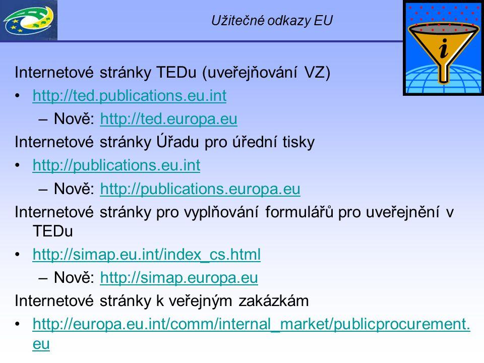 Užitečné odkazy EU Internetové stránky TEDu (uveřejňování VZ) http://ted.publications.eu.int –Nově: http://ted.europa.euhttp://ted.europa.eu Interneto