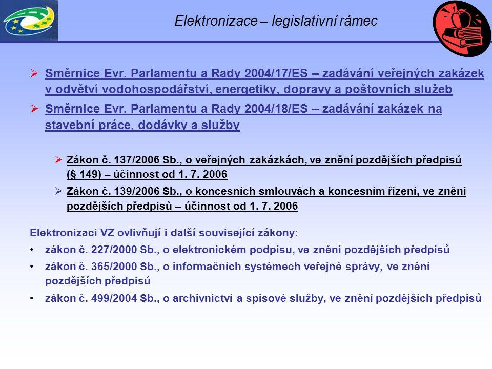 Elektronizace – legislativní rámec  Směrnice Evr. Parlamentu a Rady 2004/17/ES – zadávání veřejných zakázek v odvětví vodohospodářství, energetiky, d