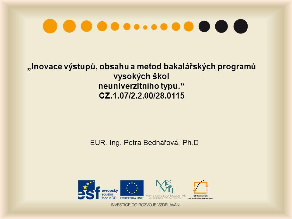 """""""Inovace výstupů, obsahu a metod bakalářských programů vysokých škol neuniverzitního typu. CZ.1.07/2.2.00/28.0115 EUR."""