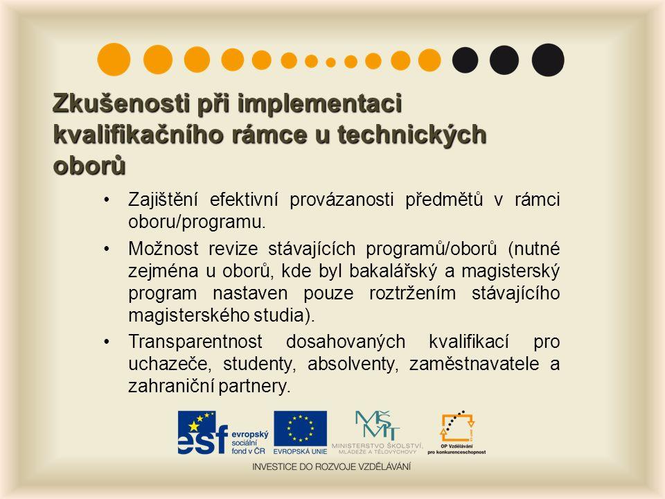Zkušenosti při implementaci kvalifikačního rámce u technických oborů Zajištění efektivní provázanosti předmětů v rámci oboru/programu.