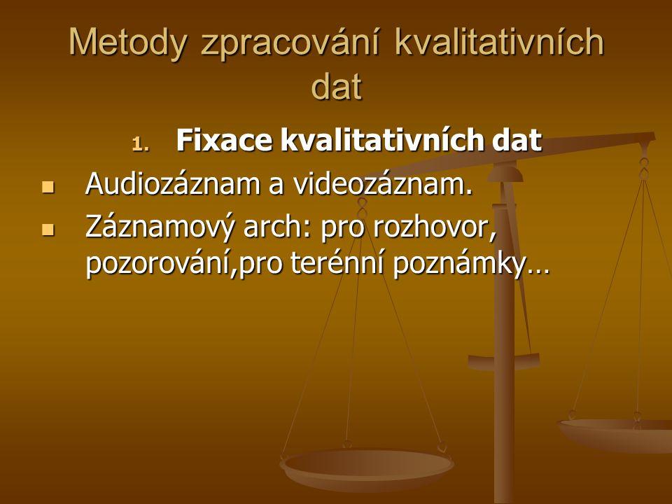 Metody zpracování kvalitativních dat 1. Fixace kvalitativních dat Audiozáznam a videozáznam. Audiozáznam a videozáznam. Záznamový arch: pro rozhovor,