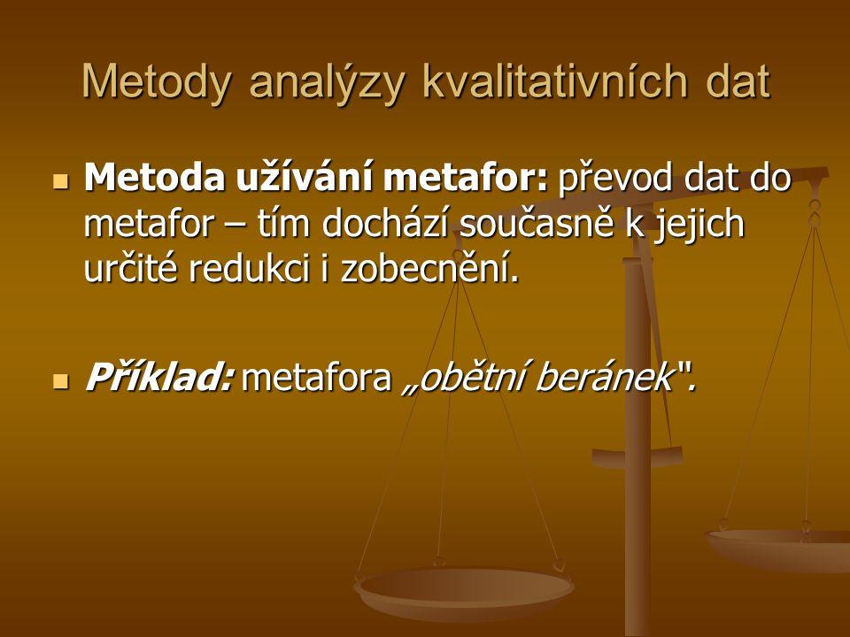 Metody analýzy kvalitativních dat Metoda užívání metafor: převod dat do metafor – tím dochází současně k jejich určité redukci i zobecnění.