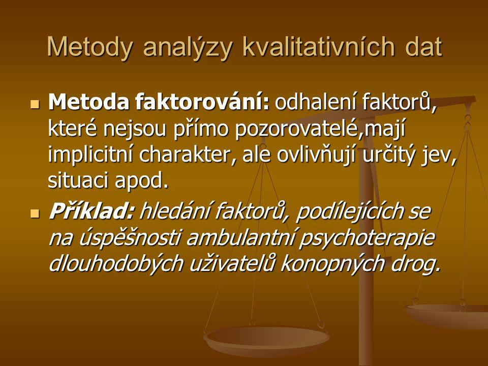 Metody analýzy kvalitativních dat Metoda faktorování: odhalení faktorů, které nejsou přímo pozorovatelé,mají implicitní charakter, ale ovlivňují určitý jev, situaci apod.