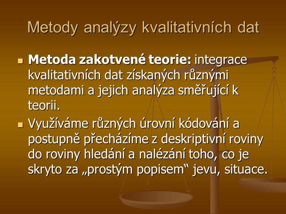 Metody analýzy kvalitativních dat Metoda zakotvené teorie: integrace kvalitativních dat získaných různými metodami a jejich analýza směřující k teorii