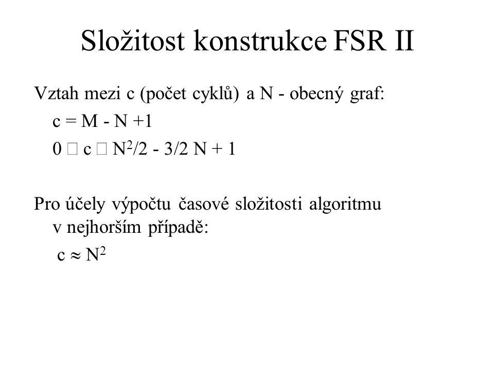 Složitost konstrukce FSR II Vztah mezi c (počet cyklů) a N - obecný graf: c = M - N +1 0  c  N 2 /2 - 3/2 N + 1 Pro účely výpočtu časové složitosti algoritmu v nejhorším případě: c  N 2