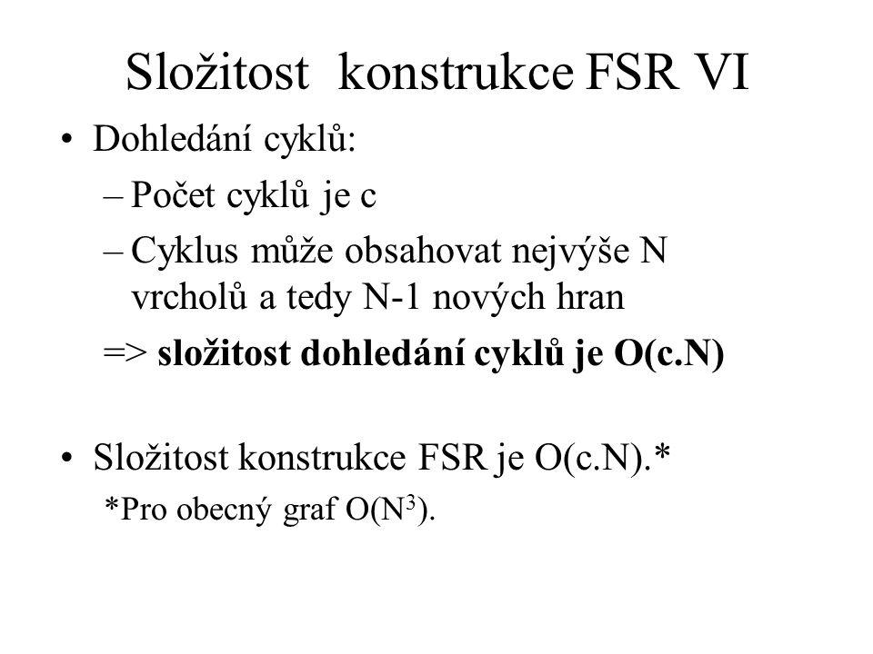 Složitost konstrukce FSR VI Dohledání cyklů: –Počet cyklů je c –Cyklus může obsahovat nejvýše N vrcholů a tedy N-1 nových hran => složitost dohledání cyklů je O(c.N) Složitost konstrukce FSR je O(c.N).* *Pro obecný graf O(N 3 ).