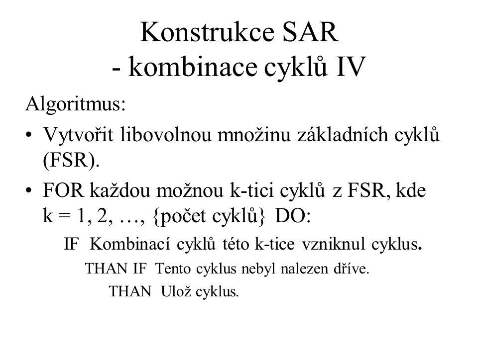 Konstrukce SAR - kombinace cyklů IV Algoritmus: Vytvořit libovolnou množinu základních cyklů (FSR). FOR každou možnou k-tici cyklů z FSR, kde k = 1, 2