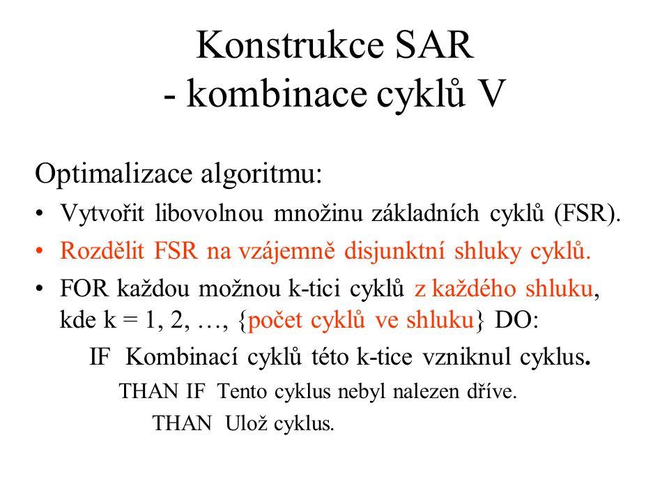 Konstrukce SAR - kombinace cyklů V Optimalizace algoritmu: Vytvořit libovolnou množinu základních cyklů (FSR). Rozdělit FSR na vzájemně disjunktní shl