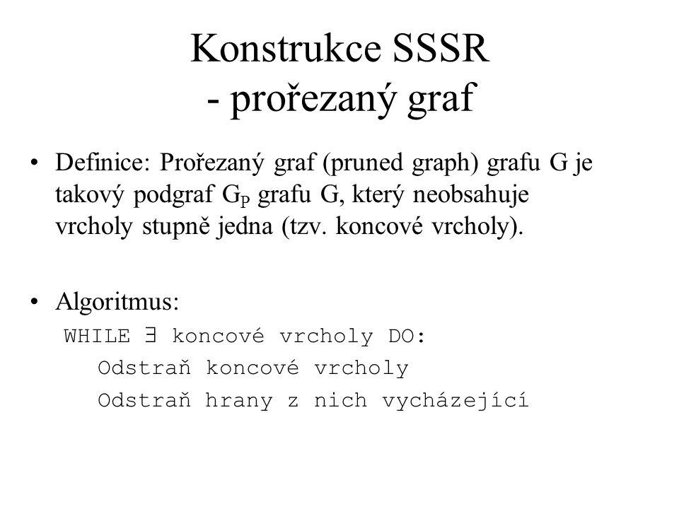 Konstrukce SSSR - prořezaný graf Definice: Prořezaný graf (pruned graph) grafu G je takový podgraf G P grafu G, který neobsahuje vrcholy stupně jedna (tzv.