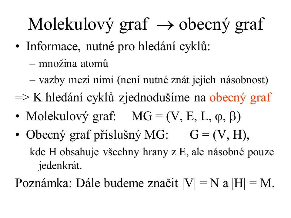 Molekulový graf  obecný graf Informace, nutné pro hledání cyklů: –množina atomů –vazby mezi nimi (není nutné znát jejich násobnost) => K hledání cyklů zjednodušíme na obecný graf Molekulový graf:MG = (V, E, L, ,  ) Obecný graf příslušný MG:G = (V, H), kde H obsahuje všechny hrany z E, ale násobné pouze jedenkrát.