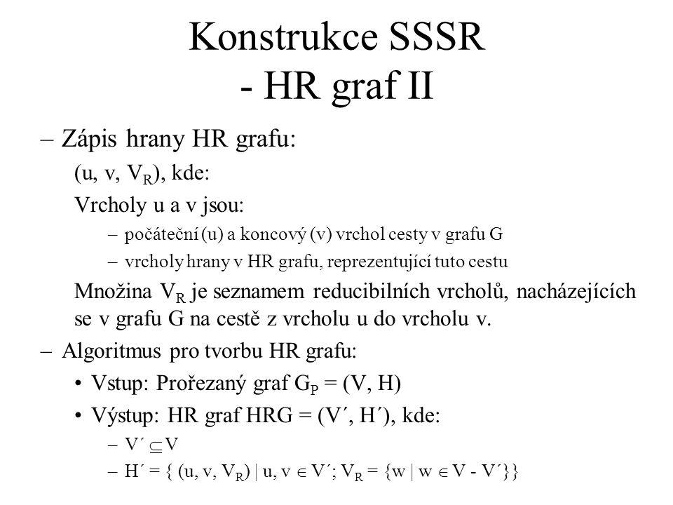 Konstrukce SSSR - HR graf II –Zápis hrany HR grafu: (u, v, V R ), kde: Vrcholy u a v jsou: –počáteční (u) a koncový (v) vrchol cesty v grafu G –vrcholy hrany v HR grafu, reprezentující tuto cestu Množina V R je seznamem reducibilních vrcholů, nacházejících se v grafu G na cestě z vrcholu u do vrcholu v.
