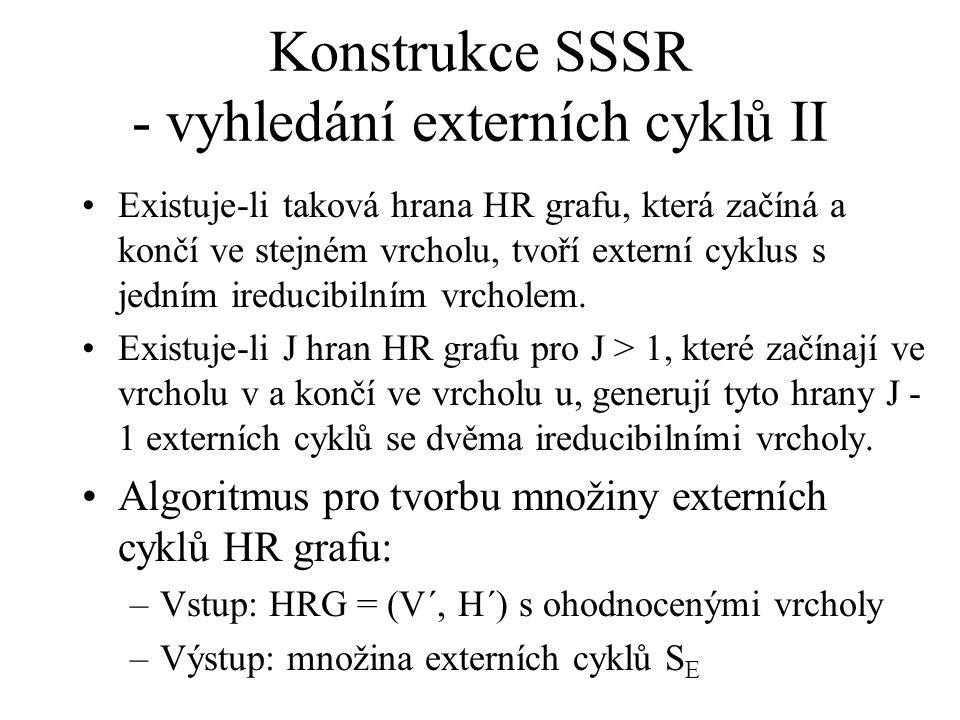 Konstrukce SSSR - vyhledání externích cyklů II Existuje-li taková hrana HR grafu, která začíná a končí ve stejném vrcholu, tvoří externí cyklus s jedním ireducibilním vrcholem.
