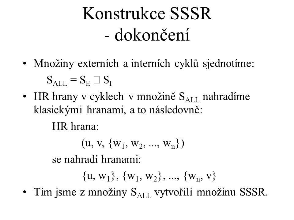 Konstrukce SSSR - dokončení Množiny externích a interních cyklů sjednotíme: S ALL = S E  S I HR hrany v cyklech v množině S ALL nahradíme klasickými hranami, a to následovně: HR hrana: (u, v, {w 1, w 2,..., w n }) se nahradí hranami: {u, w 1 }, {w 1, w 2 },..., {w n, v} Tím jsme z množiny S ALL vytvořili množinu SSSR.