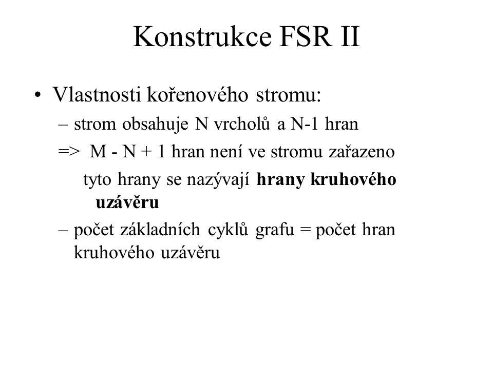 Konstrukce FSR II Vlastnosti kořenového stromu: –strom obsahuje N vrcholů a N-1 hran => M - N + 1 hran není ve stromu zařazeno tyto hrany se nazývají