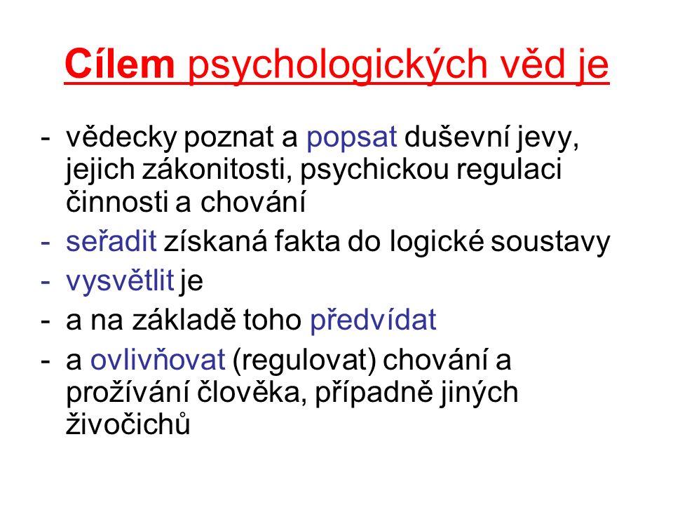 Cílem psychologických věd je -vědecky poznat a popsat duševní jevy, jejich zákonitosti, psychickou regulaci činnosti a chování -seřadit získaná fakta