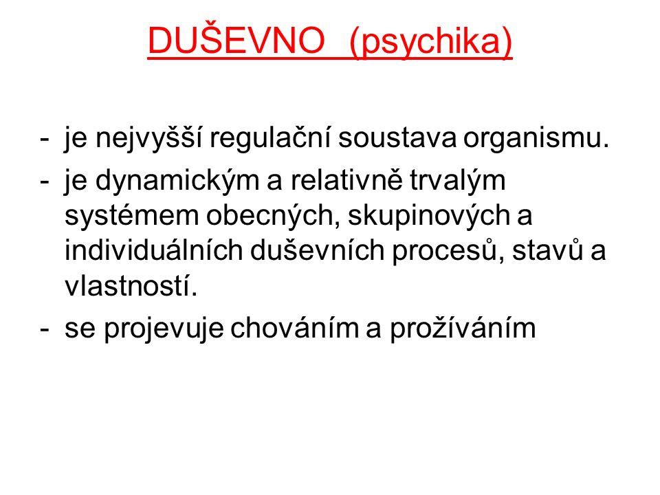 DUŠEVNO (psychika) -je nejvyšší regulační soustava organismu. -je dynamickým a relativně trvalým systémem obecných, skupinových a individuálních dušev