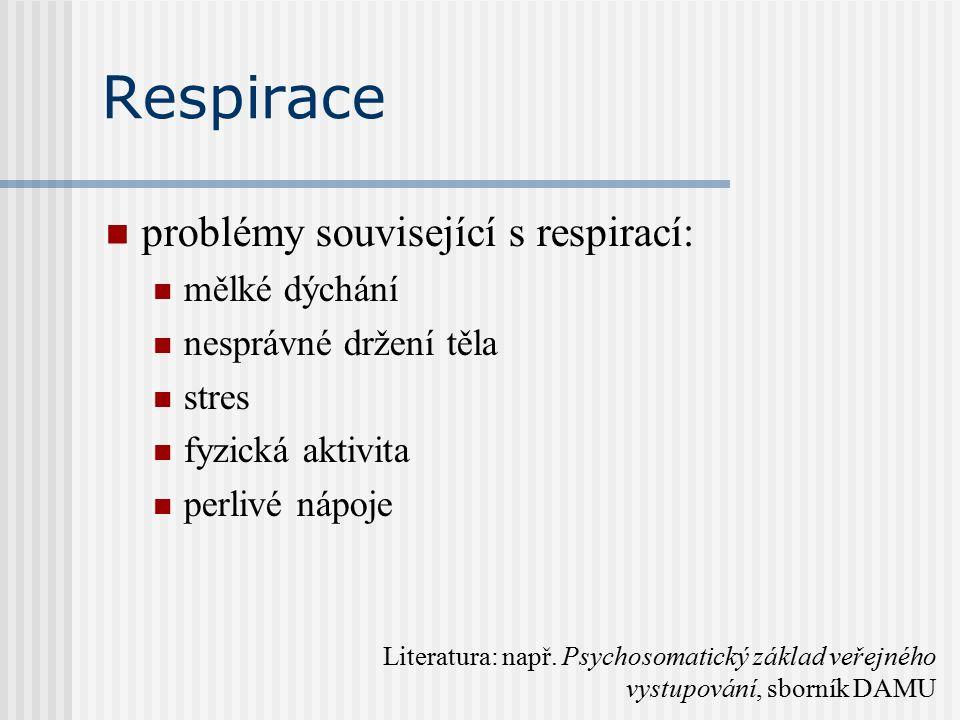 Respirace problémy související s respirací: mělké dýchání nesprávné držení těla stres fyzická aktivita perlivé nápoje Literatura: např.