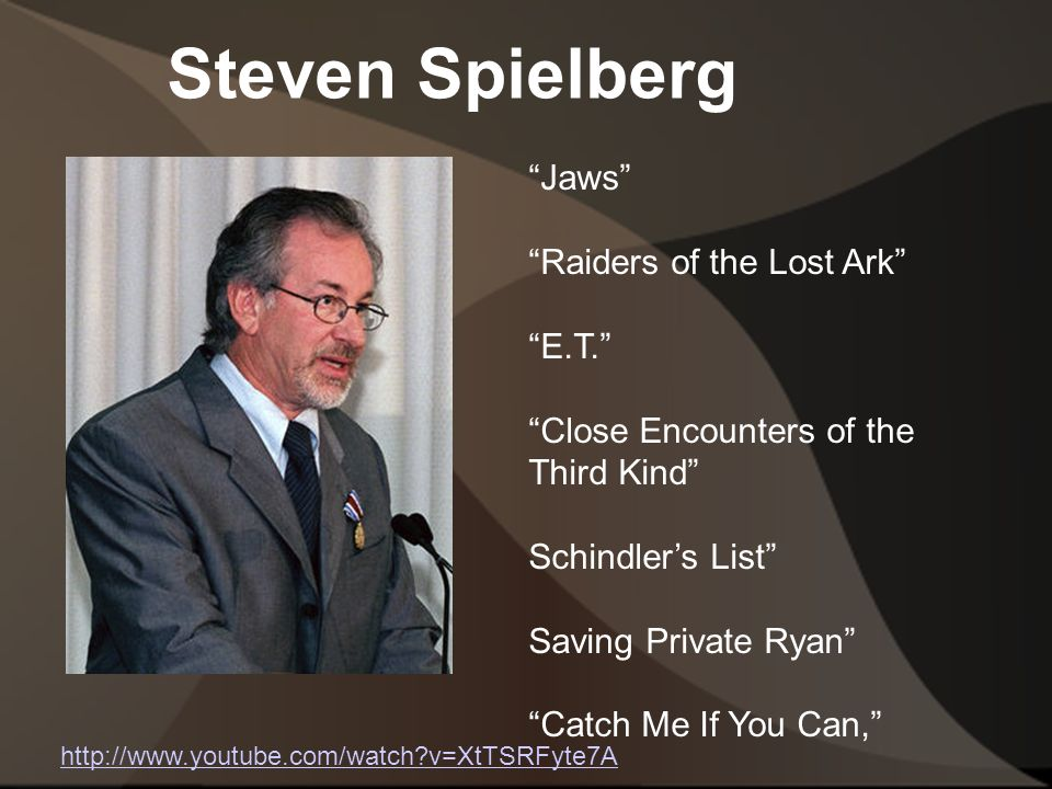 Steven Spielberg http://www.youtube.com/watch v=XtTSRFyte7A Jaws Raiders of the Lost Ark E.T. Close Encounters of the Third Kind Schindler's List Saving Private Ryan Catch Me If You Can,