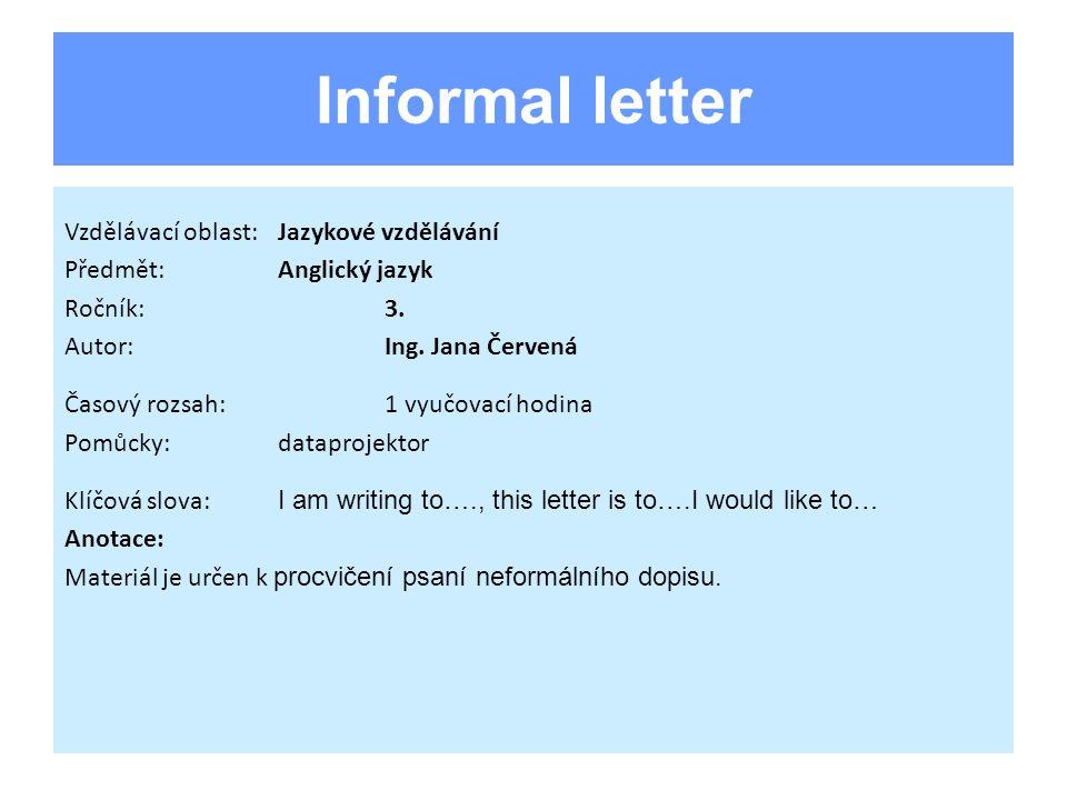 Úvod Neformální dopis je často zařazován do písemné části maturity z AJ.