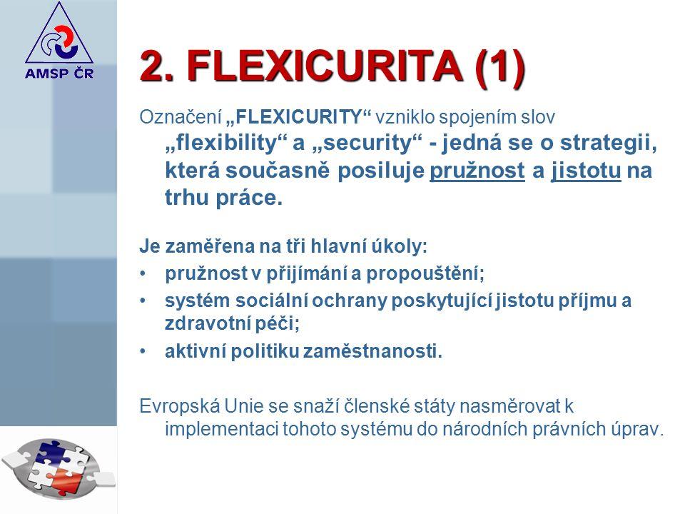 """2. FLEXICURITA (1) Označení """"FLEXICURITY"""" vzniklo spojením slov """"flexibility"""" a """"security"""" - jedná se o strategii, která současně posiluje pružnost a"""