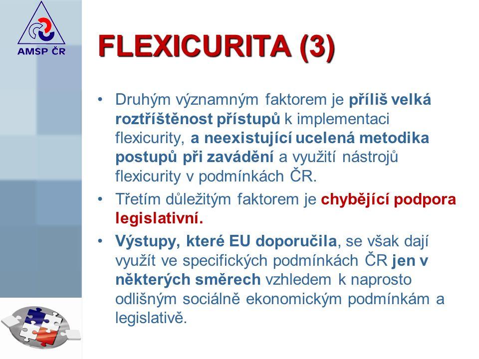 FLEXICURITA (3) Druhým významným faktorem je příliš velká roztříštěnost přístupů k implementaci flexicurity, a neexistující ucelená metodika postupů při zavádění a využití nástrojů flexicurity v podmínkách ČR.