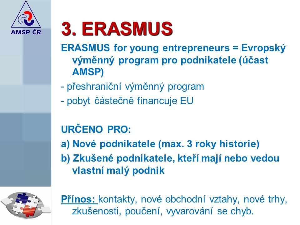 3. ERASMUS ERASMUS for young entrepreneurs = Evropský výměnný program pro podnikatele (účast AMSP) - přeshraniční výměnný program - pobyt částečně fin