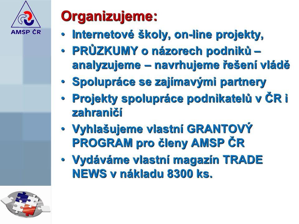Organizujeme: Internetové školy, on-line projekty,Internetové školy, on-line projekty, PRŮZKUMY o názorech podniků – analyzujeme – navrhujeme řešení vláděPRŮZKUMY o názorech podniků – analyzujeme – navrhujeme řešení vládě Spolupráce se zajímavými partnerySpolupráce se zajímavými partnery Projekty spolupráce podnikatelů v ČR i zahraničíProjekty spolupráce podnikatelů v ČR i zahraničí Vyhlašujeme vlastní GRANTOVÝ PROGRAM pro členy AMSP ČRVyhlašujeme vlastní GRANTOVÝ PROGRAM pro členy AMSP ČR Vydáváme vlastní magazín TRADE NEWS v nákladu 8300 ks.Vydáváme vlastní magazín TRADE NEWS v nákladu 8300 ks.