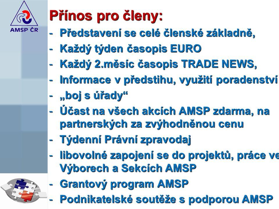 """Přínos pro členy: -Představení se celé členské základně, -Každý týden časopis EURO -Každý 2.měsíc časopis TRADE NEWS, -Informace v předstihu, využití poradenství -""""boj s úřady -Účast na všech akcích AMSP zdarma, na partnerských za zvýhodněnou cenu -Týdenní Právní zpravodaj -libovolné zapojení se do projektů, práce ve Výborech a Sekcích AMSP -Grantový program AMSP -Podnikatelské soutěže s podporou AMSP"""