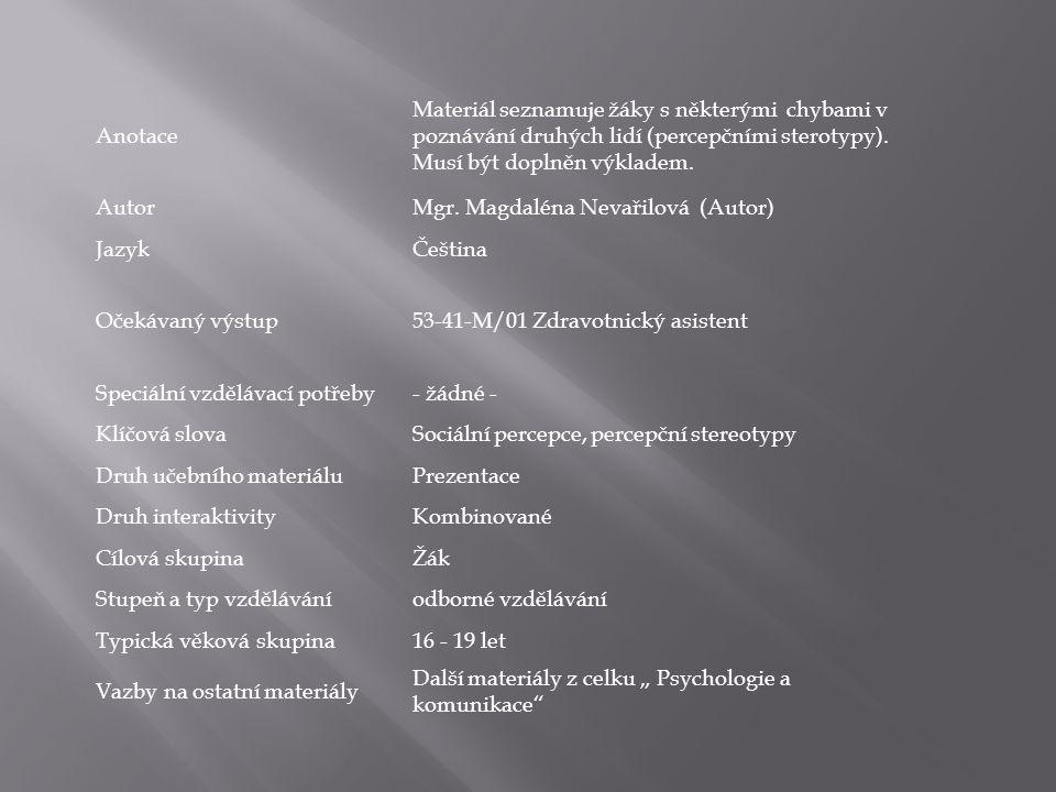 Anotace Materiál seznamuje žáky s některými chybami v poznávání druhých lidí (percepčními sterotypy). Musí být doplněn výkladem. AutorMgr. Magdaléna N