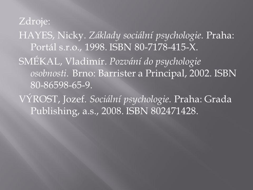 Zdroje: HAYES, Nicky. Základy sociální psychologie. Praha: Portál s.r.o., 1998. ISBN 80-7178-415-X. SMÉKAL, Vladimír. Pozvání do psychologie osobnosti