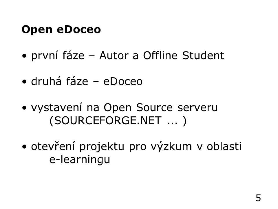Open eDoceo první fáze – Autor a Offline Student druhá fáze – eDoceo vystavení na Open Source serveru (SOURCEFORGE.NET...