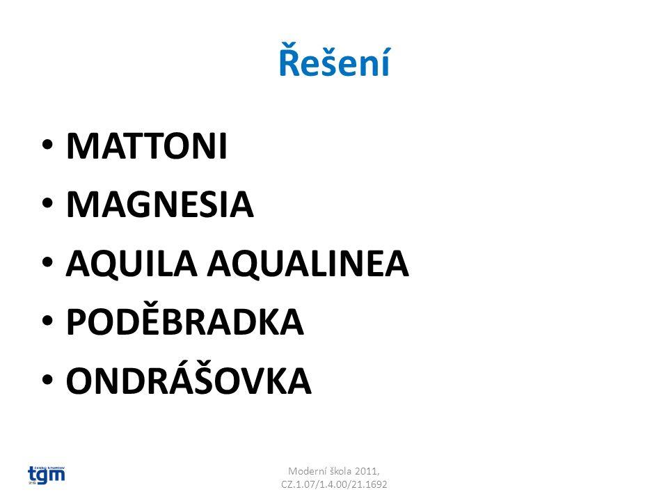 Řešení MATTONI MAGNESIA AQUILA AQUALINEA PODĚBRADKA ONDRÁŠOVKA Moderní škola 2011, CZ.1.07/1.4.00/21.1692
